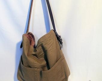 Designer denim shoulder bag