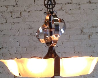 RESTORED Art Deco slip shade chandelier 6 light
