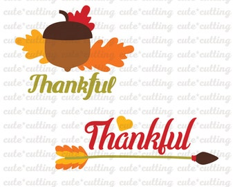 Thankful svg Thanksgiving svg Turkey day svg dxf jpeg cutting files for Silhouette Cameo, Portrait, Curio, Cricut