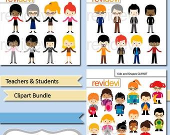 People clipart / Teachers students clipart bundle sale / commercial use teacher clip art, kids with shapes, women, men / download