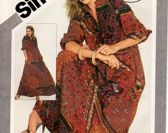Sz 6 Thru 20 - 80's Simplicity Pattern 5337 -  Misses' Pullover Caftan - All Sizes Included In One Envelope - Simplicity Patterns