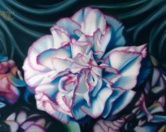 Flower Painting Original Fine Art ~ Pastel Carnation Floral Art ~ Magenta Cobalt Blue ~ FREE SHIPPING