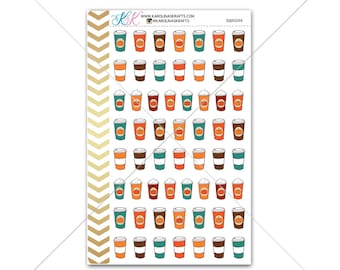 Fall Coffee Stickers for planner, calendar! Functional planner stickers pumpkin sticker functional sticker drink sticker #SQ00266