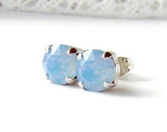 Air blue opal rhinestone stud earrings / 8mm / Swarovski / October / gift for her / girlfriend gift / sky blue / birthday gift