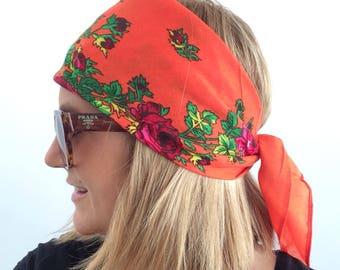 Orange floral cotton scarf