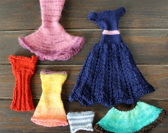 barbie dress - set of 5 hand knitted barbie dresses