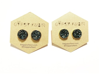 Navy Large Druzy Galaxy Stud Earrings