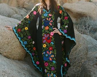Black & Blue Mexican Wedding Dress, Boho wedding gown, Maxi Caftan Dress, Mexican embroidery, beach wedding,