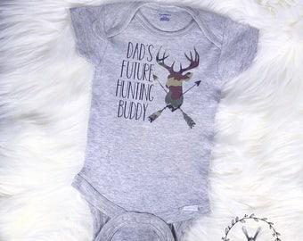 Dads Future Hunting Buddy Onesie, Camo Onesie, Hunter, Baby Gift, Baby Shower, Custom Onesie, Deer Onesie
