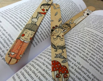 Wood Bookmarks with Unique Illustration [Girl and Boy, Hedgehog, Boy, Bird and Bear] - Set of 3