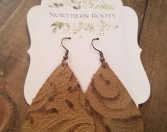 Light brown/ brown paisley print leather tear drop earrings