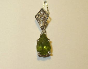 Green Grossular Garnet in Solid Sterling Silver Pendant Necklace - Untreated Mined-from-Earth Natural Gemstone