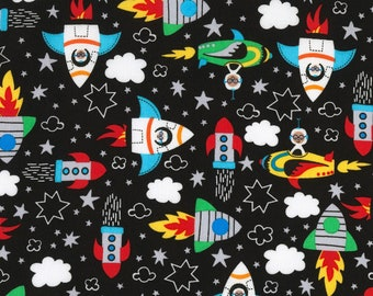 Black Rockets Blast Off by Timeless Treasures Collection Quilt Fabric by the Half Yard