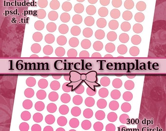 16mm Circle Template, DIY DIGITAL Collage Sheet TEMPLATE 8.5x11 inch Page with Video Tutorial Instructions (Instant Download)