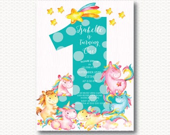 Unicorn First Birthday Invitation, Unicorns, Magical, 1st Birthday, One, Cute, Girls ,Digital, Printable, Polka Dots, Pink, Unique,