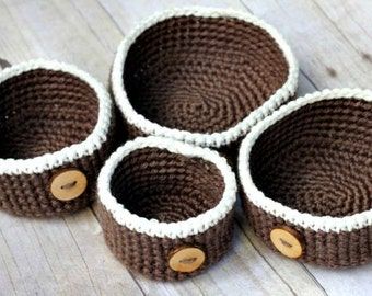 Nesting Baskets Crochet Pattern THE RUMNEY four rustic containers bowls