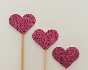 Sparkling Heart cupcake toppers