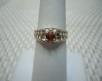 Round Cut Orange Sapphire Ring in Sterling Silver   #1956