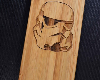 Stormtrooper Starwars Laser engraved Wood case with rubber coated plastic for iPhone 6 6s 6 plus 6s plus 7 7 plus 8 8 plus x