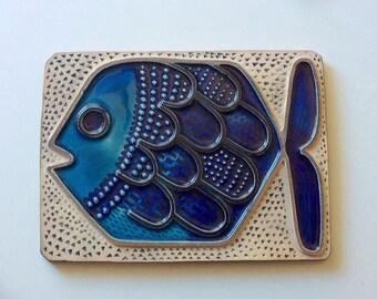 60s Swedish Upsala Ekeby vintage wallhanging plaque collectible fish Mari Simmulson