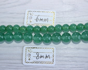 Natural Green Chalcedony Glossy Quartz Crystal Beads for DIY[6mm/8mm/One Full Strand]