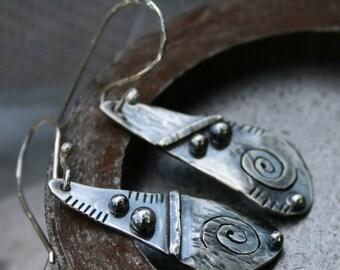 Tribal,sterling silver,silver drops,silver dangles,teardop earrings,maggiesmeltdown,Maggie's Meltdown,tribal drops,tribal earrings