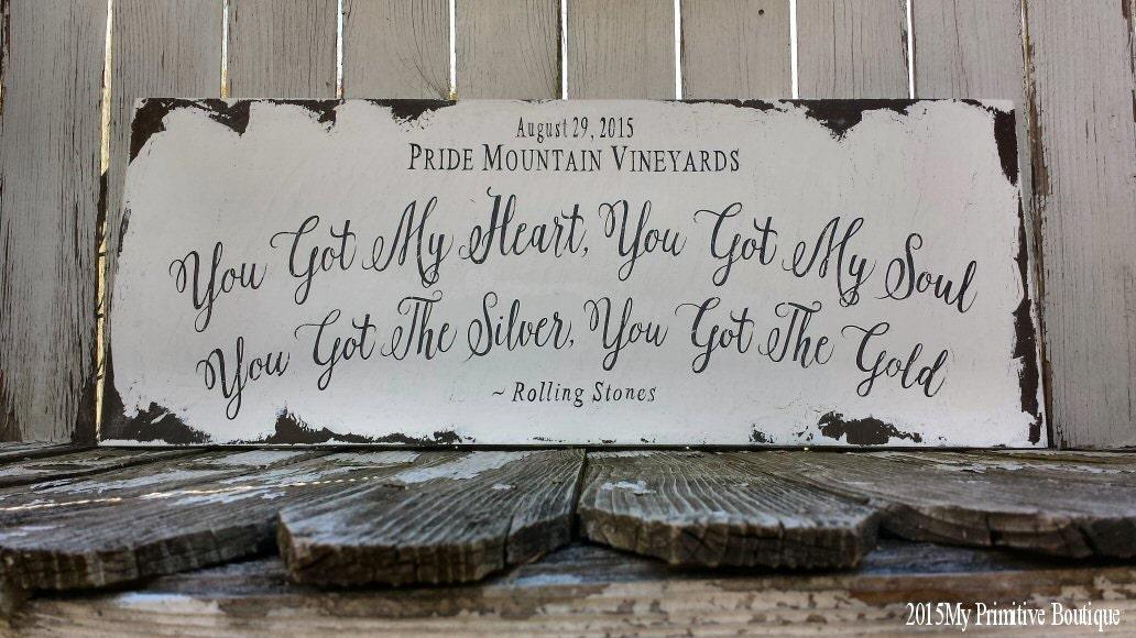 Custom Wedding Sign Song LyricsRustic Photo