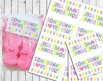 Easter Bunny Some BUNNY LOVES YOU Goody Bag Toppers Instant Download, Peeps - Topper File Only