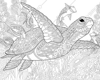 Coloring Pages for adults. Ocean World. Turtle. Underwater colouring pages. Animal coloring book. Instant Download Print