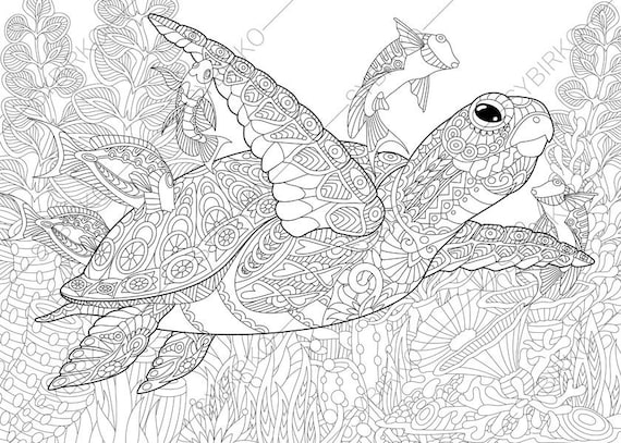 coloring pages for adults ocean world turtle underwater