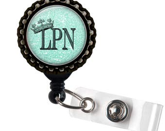 LPN ROYALTY- Blue and Black Retractable Badge Reel ID Holder