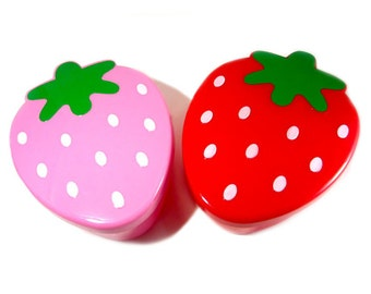 Strawberry Bento Box Food Container / Pink, Red Sectional Food Storage / Kawaii Berry Ingredient Separating Storage / Kids Travel Lunch Box