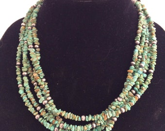 5-Strand Sterling Silver and Turquoise Bead Necklace
