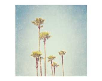 Minimalist California Beach Decor, Vintage Summer Palm Trees Print, Seaside Photography, Los Angeles - California Dreamin'