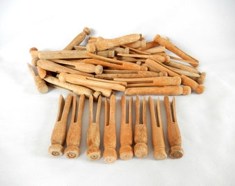 vintage clothespins, wooden clothespins, Lot of 50, laundry clothes pegs, rustic, weathered, craft supply, wedding shower