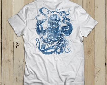 Deep See Short-Sleeve Unisex T-Shirt - for him or her, featuring diver helmet octopus, kraken in watercolor ink indigo - blue, nautical gift