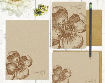 complete personalized stationery set - APPLE BLOSSOM - kraft stationary - notepad - folded cards - flat cards - floral - flower - botanical