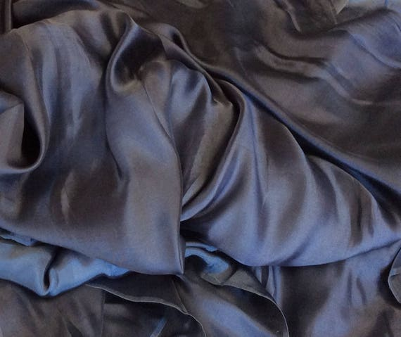 Genuine silk sateen, steel blue