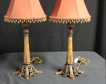 Pair of Console Lamps, Resin Repro Vintage Lights, Table Lamps
