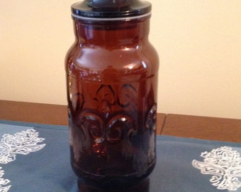 Vintage Brown Glass Apothecary Jar