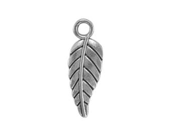 14 charms bc229 antique silver, antiqued silver metal leaf