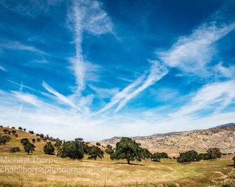 California country clouds contrail blue grass ranch Tehachapi landscape photography fine art