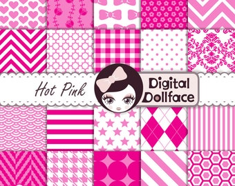 Hot Pink Digital Paper Set, Pink Scrapbook Paper Pack, Instant Download