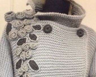 50% discount! (380 190evro) Chic cardigan - coat ' cascade of Roses 'unique T is hand knit.