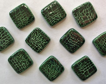 10 Handcrafted Green Square Tiles That Can Be Used In Mosaic And Other Mixed Media Projects