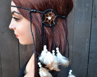 Dreamcatcher Feather Headband - Feather Hairpiece - Hair Accessories - Festival Rave Wear - Young Festival Fashion - Boho Headband