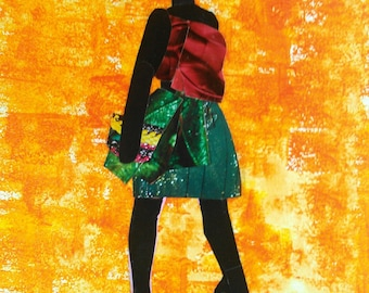 Party Gyal Haitian Art. Women. Goddess. 11 inches x 14 inches Collage Print