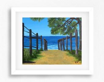 Australian Beach Painting Print, Beach Art Print, Maroochydore Painting, Sunshine Coast Australia, Australia Landscape, Coastal Art Print