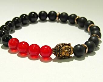 Buddha Onyx Bracelet, Red and Black Bracelet, Mens Boho Bracelet, Jewelry, Onyx, Mens Jewelry, Carnelian, Mens Bracelets, Gift For Him
