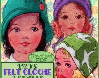 Sweetest Toddler's 1920's FELT Cloche Hat e-pattern - 3 Styles - INSTANT DOWNLOAD